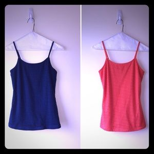 JW Style Set of 2 Camisoles, Blue & Coral, Small
